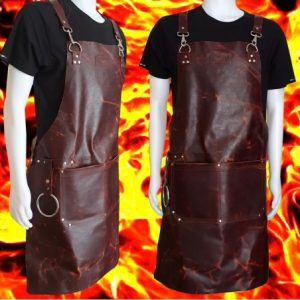 kožená zástěra Dellinger LEATHER BBQ - Vintage FIRE Look