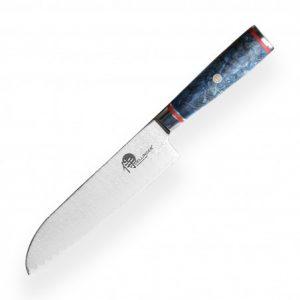 """nůž SANTOKU 7"""" (180 mm) Dellinger LADDER Blue Shadow Professional Damascus"""